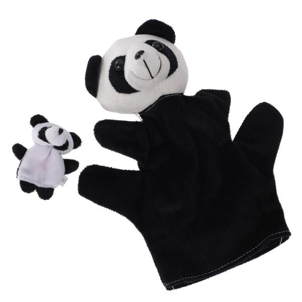 Black White Panda Hand Puppet Finger Puppet