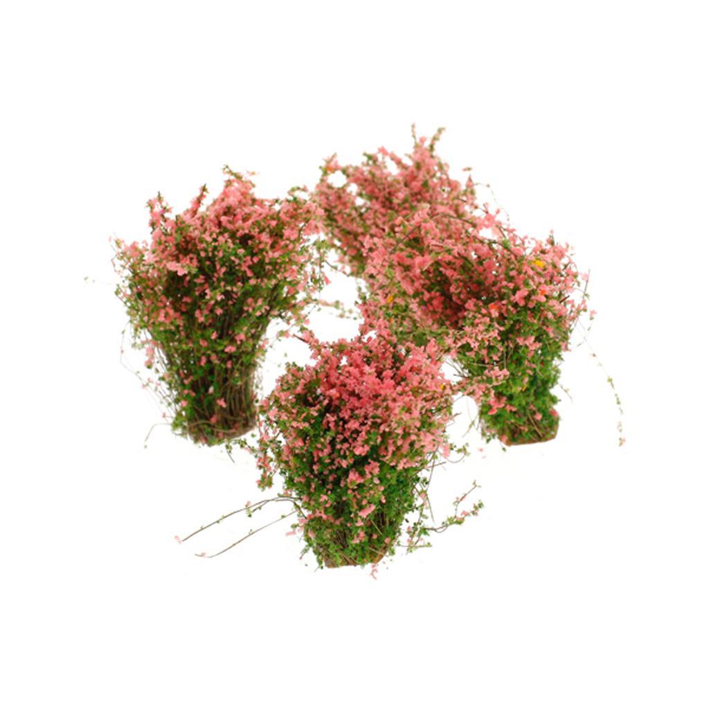 4pcs Scenery Landscape Model Ground Cover Flower Model Pink