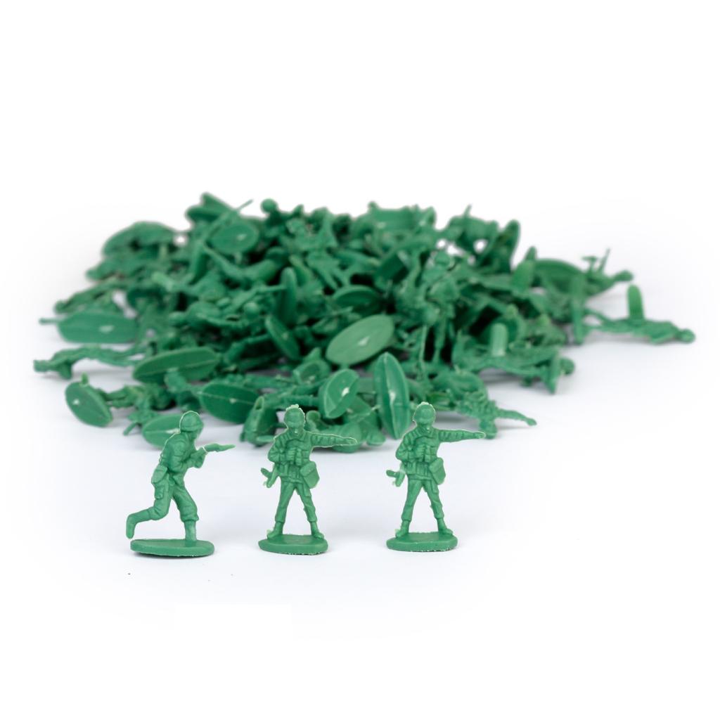 100 pcs Green Greenish Black Miniatures Soldier Models 1:72