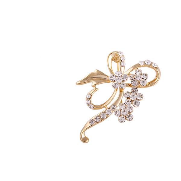 Bow Tie Rhinestone Flower Brooch Pin