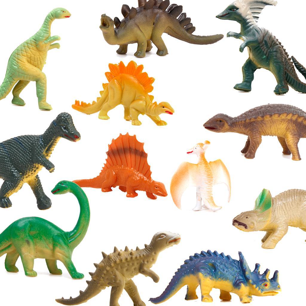 12pcs Assorted Mini Dinosaur Set Toy Model Home Decor Preschool Toy