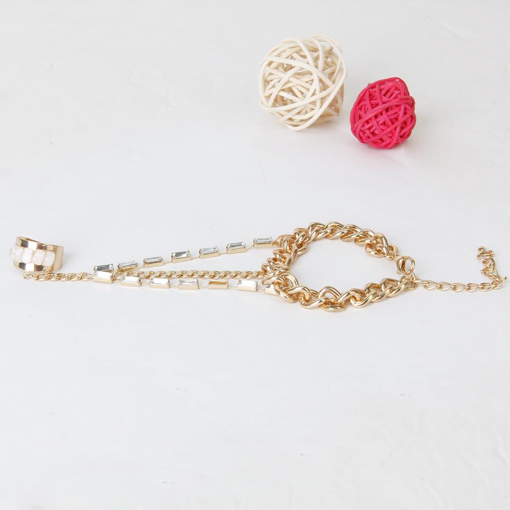 Gothic Fashion Chain Linked Bracelet and Ring Wrist w/Square Rhinestones Golden