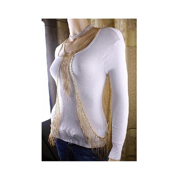 New Women Golden Choker Tassel Body Chain Jewelry Necklace