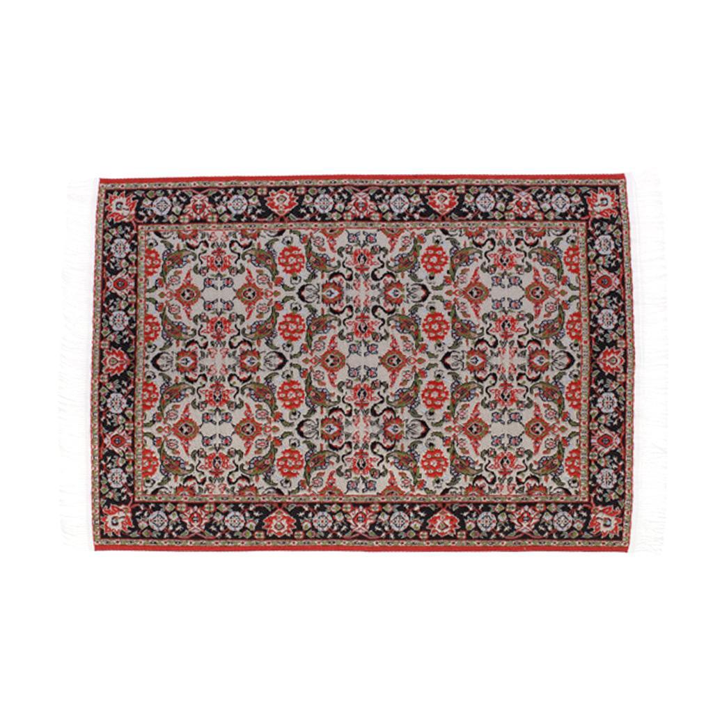 Miniature 1:12 Dollhouse Woven Rug Floor Carpet 24 x 15.3cm