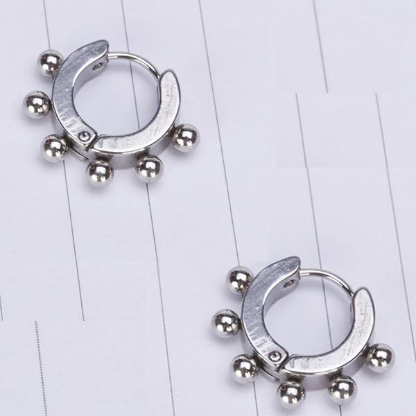 2 Pcs  Hoop Circle Ball Ear Stud Men's Earring