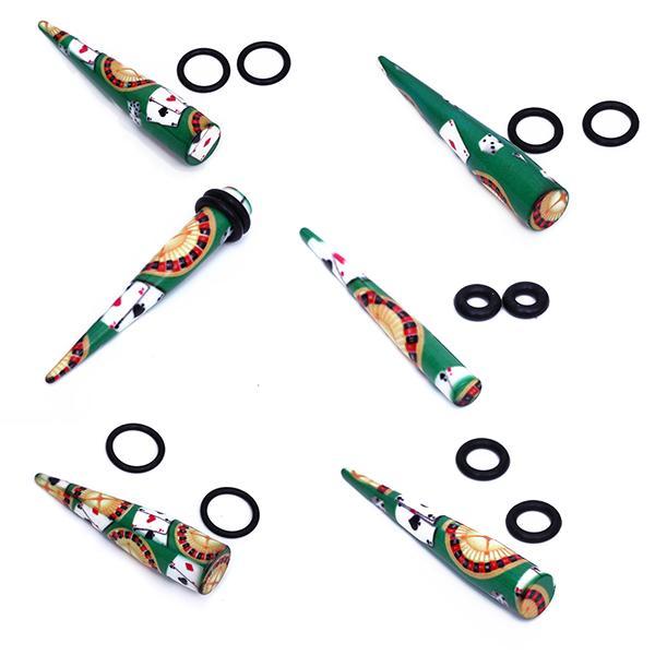 6pcs Casino Poker Roulette Dice Acrylic Ear Stretcher Expander Taper Plug 4mm 6mm 8mm 10mm 12mm 14mm