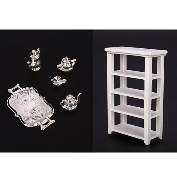 5pcs Lot Silver Flagon Wine Pot Set w/Square Plate and Shelf 1:12 Dollhouse Furniture Miniature