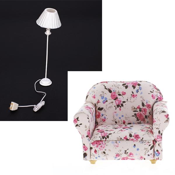 Shell Shade Floor Lamp Light and Single Seat Sofa Toy 1:12 Dollhouse Miniature