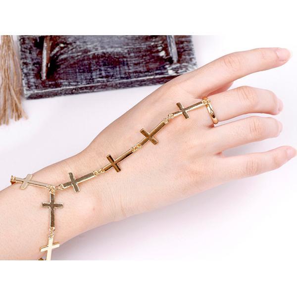 Ladies Armor Punk Chic Cross Hang Chain Ring to Wrist Bracelet - Golden
