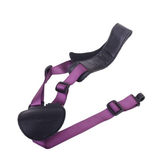 Adjustable Artificial Leather Nylon Ukulele Strap with Plastic Hook - Black and Purple