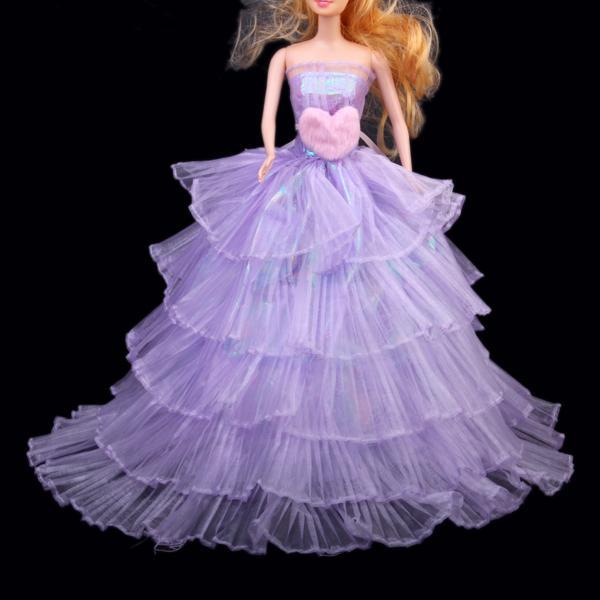 Princess Strapless Wedding Gown Dress for Barbie Doll - Lavender