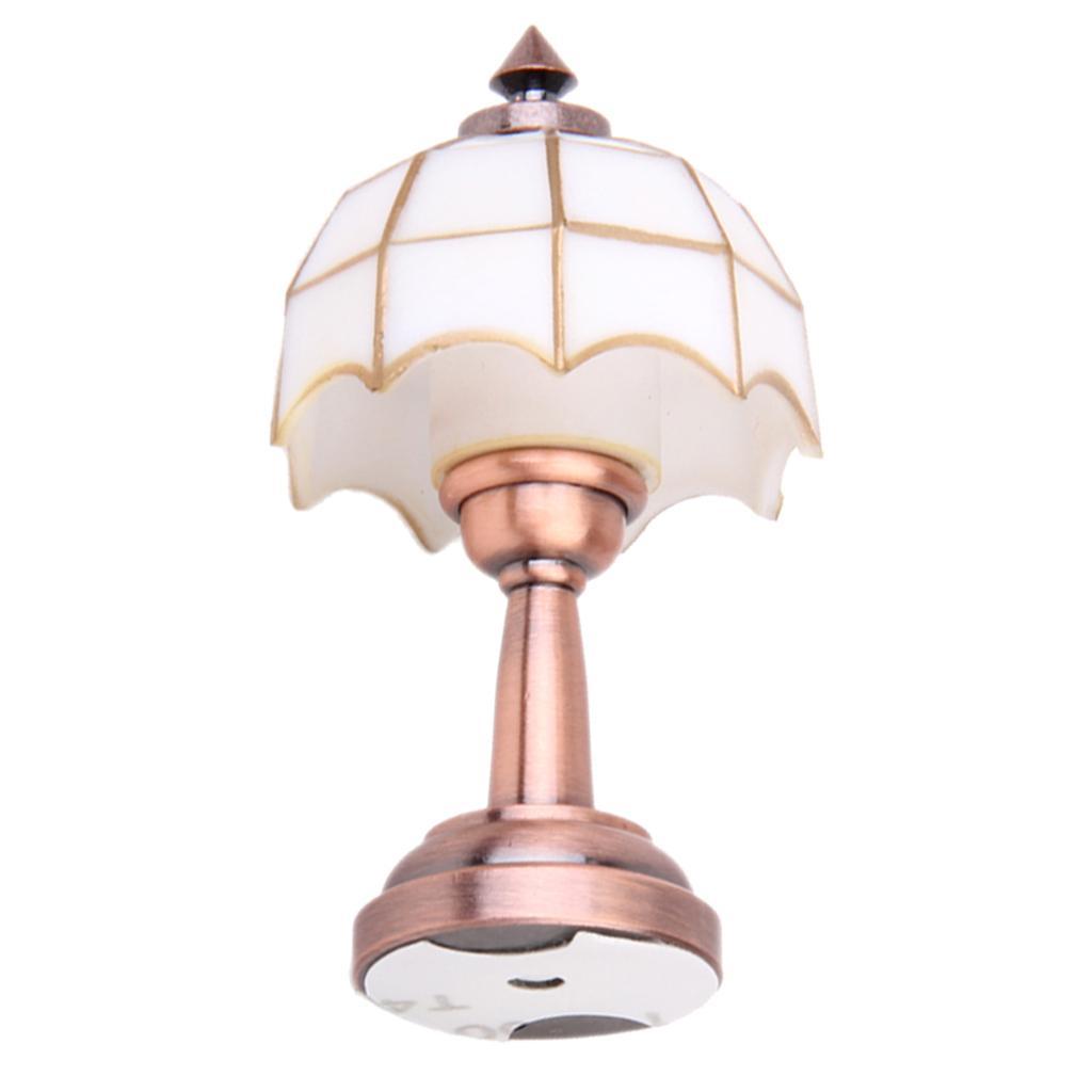 Bronze Metal 1 12 Dollhouse Miniature Led Desk Lamp Model