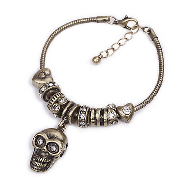 Punk Vintage Rock Metal Alloy Bracelet w/ Skull Pendant