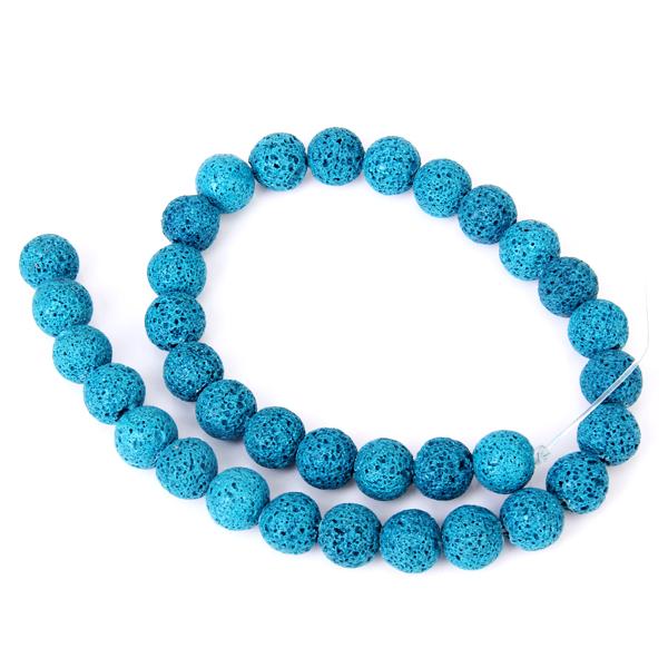 Dark Cyan Round Vesicular Basalt Loose Beads Strand 11.5mm / 15.5 Inch