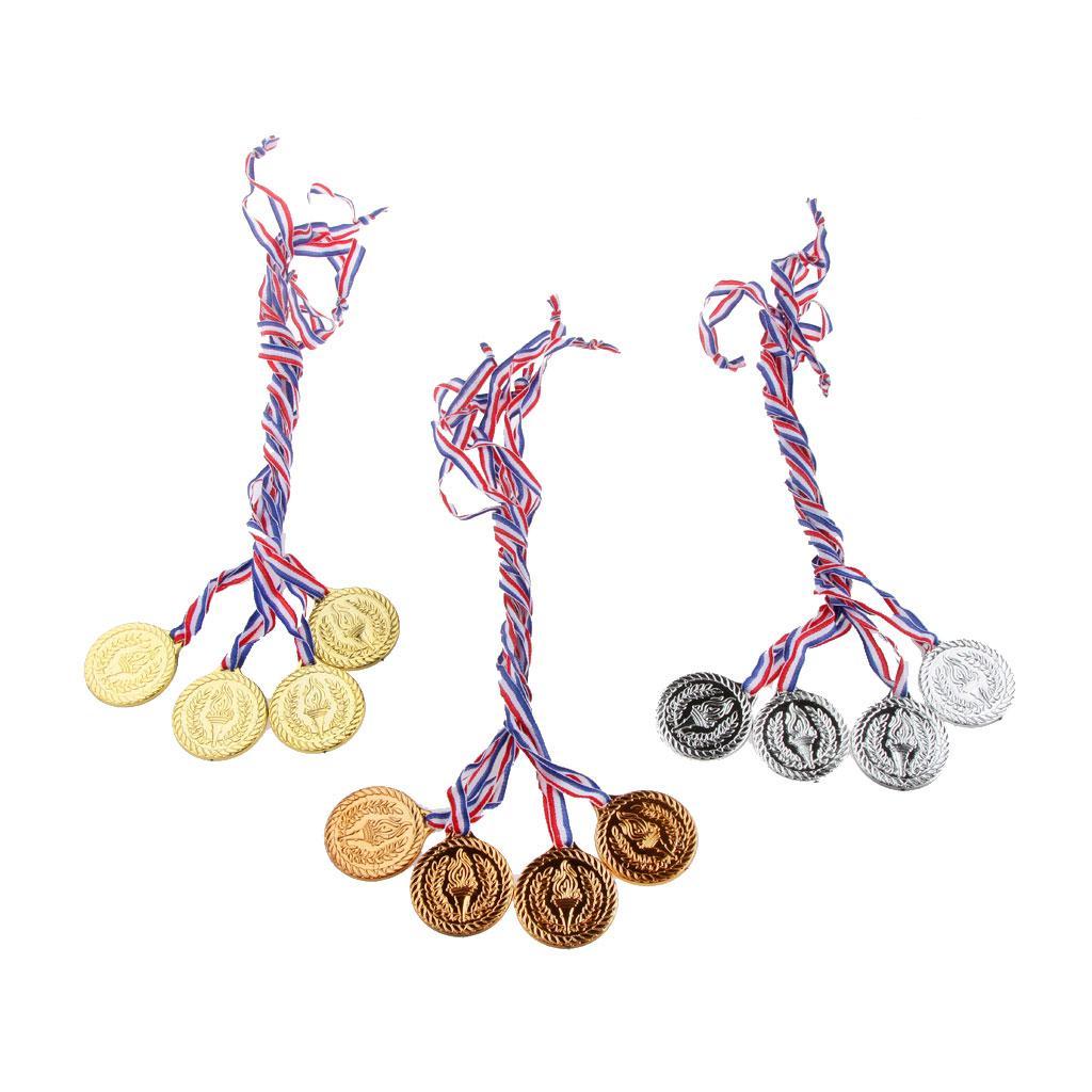 12PCS Plastic Gold/Silver/Bronze Medals Preschool Props
