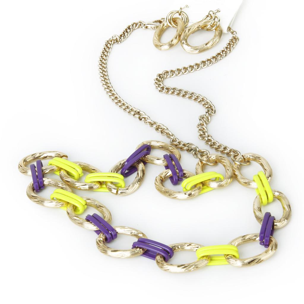 Punk Gold Tone Metal Long Necklace w/ Earrings Set