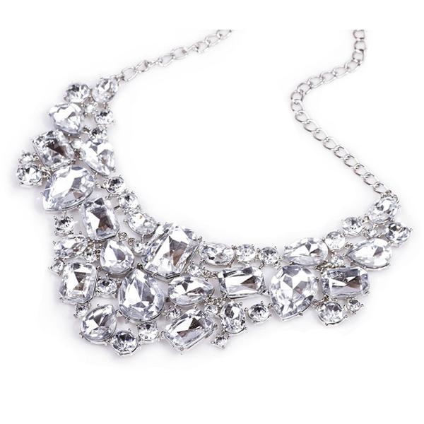 Silver Tone Acrylic Pendant Short Choker Collar Necklace