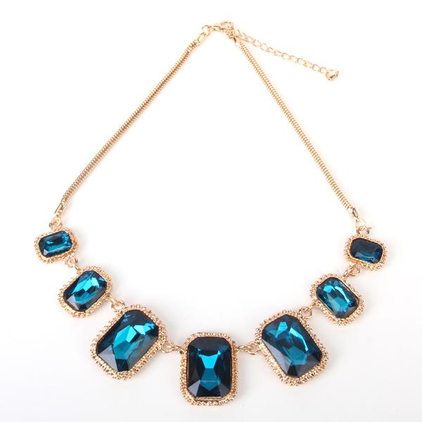 Exaggeration Retro Glass Artificial Gems Golden Necklace -Sapphire Blue