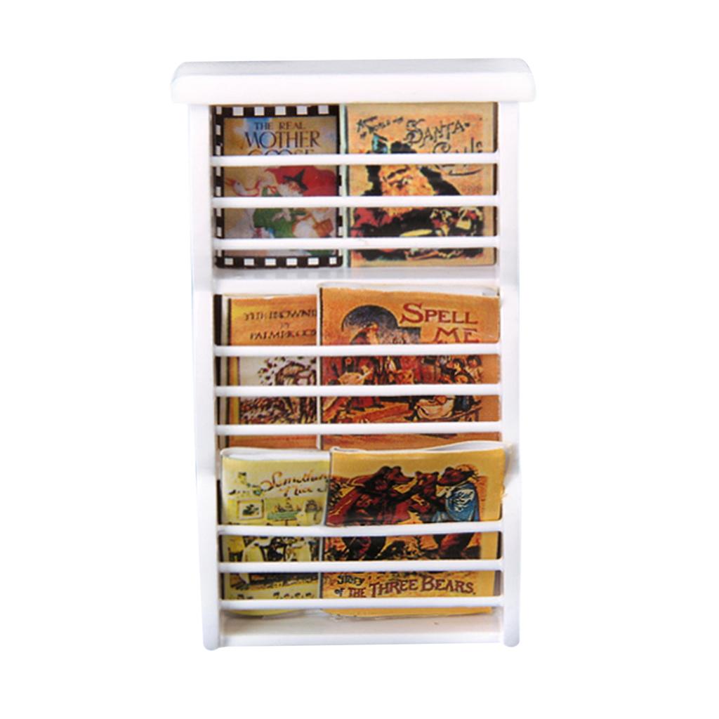 Dollhouse Miniature Wooden Bookshelf Book Magazine Rack -White