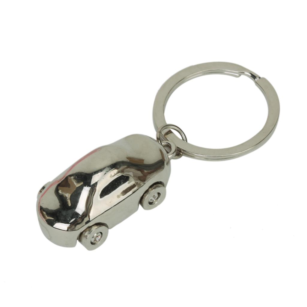Metal Alloy Car Key Chain Key Ring Silver Tone