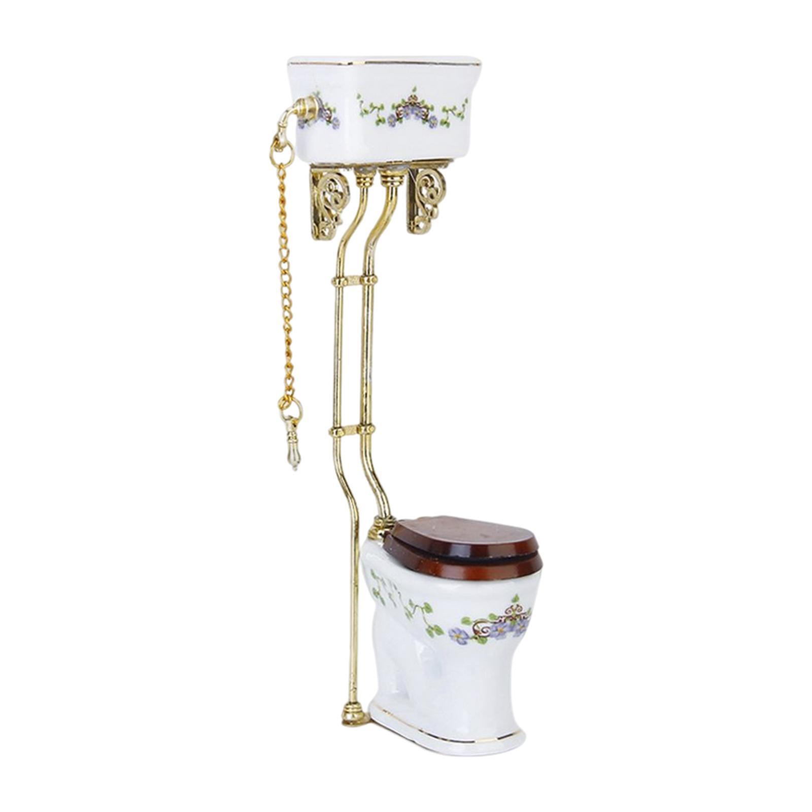 Vintage Victorian Style Bathroom Porcelain Toilet Dollhouse Miniature Accs