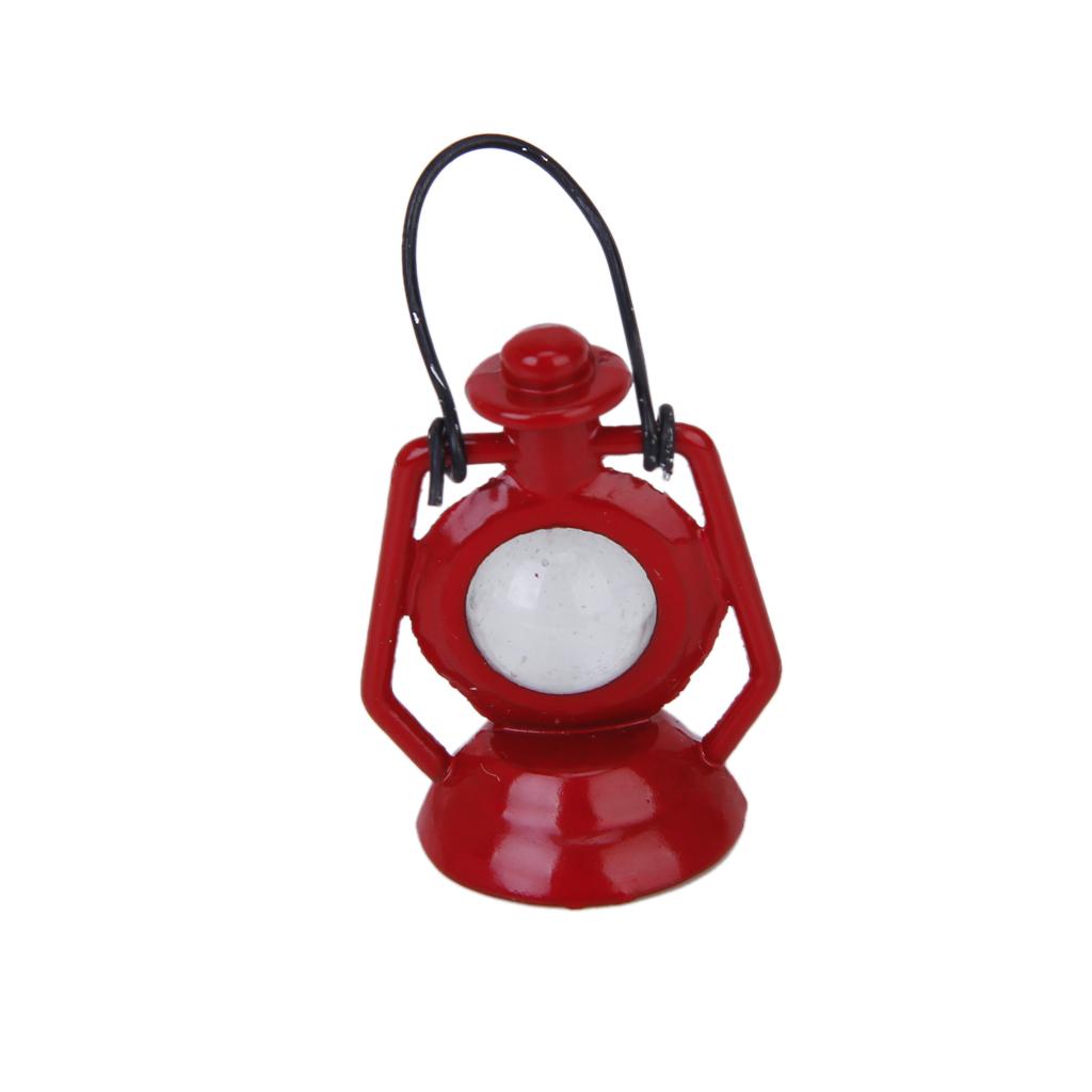 Vintage Red Kerosene Burner Lamp Dollhouse Miniature 1/12 Scale