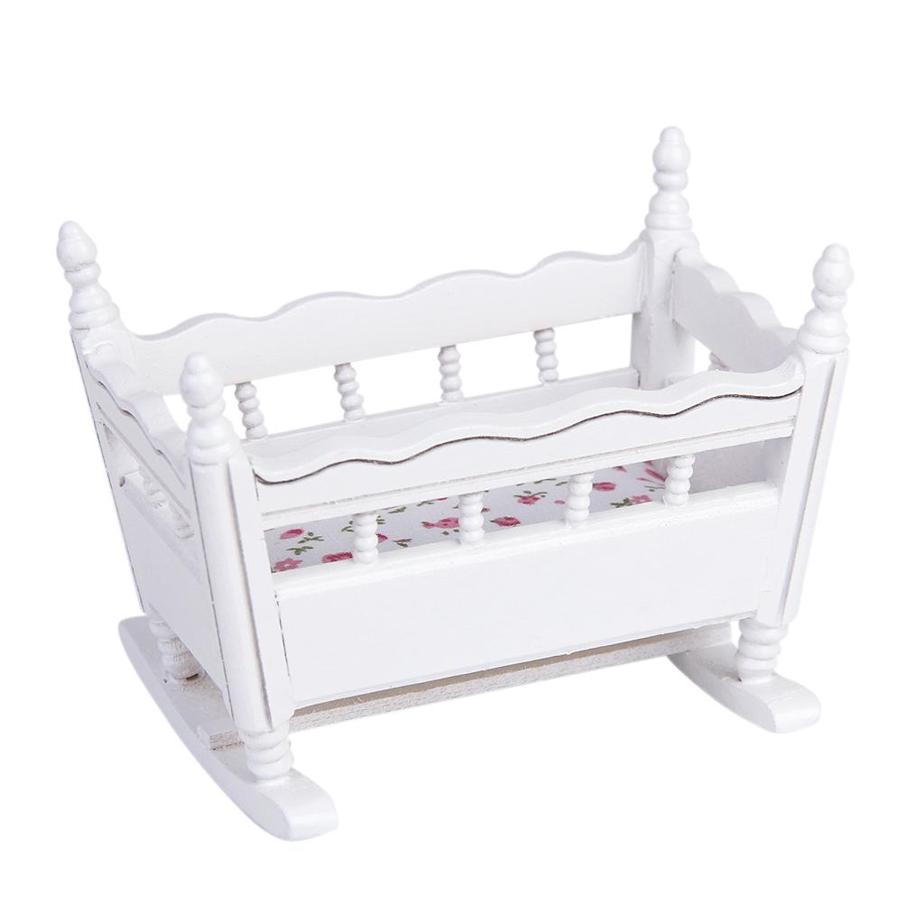 1/12 Dolls House Miniature White Wooden Nursery Cradle Baby Crib
