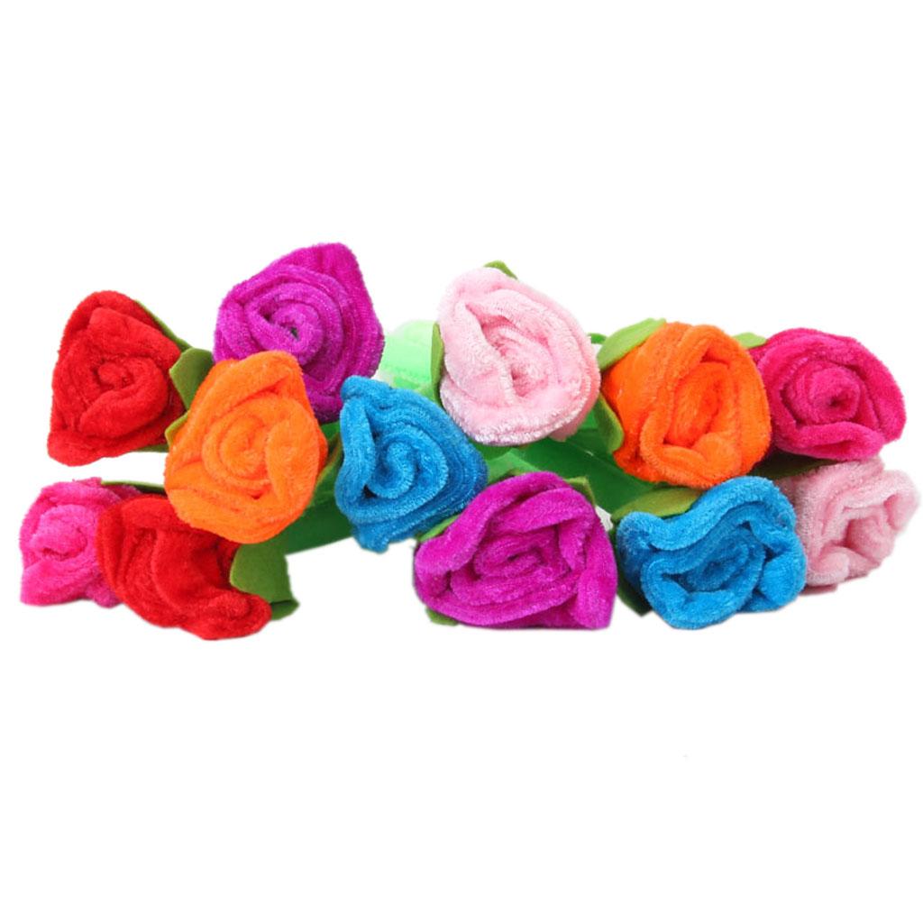 12pcs Blue Ink Ball Pen Ballpoint Rose Flower Decor
