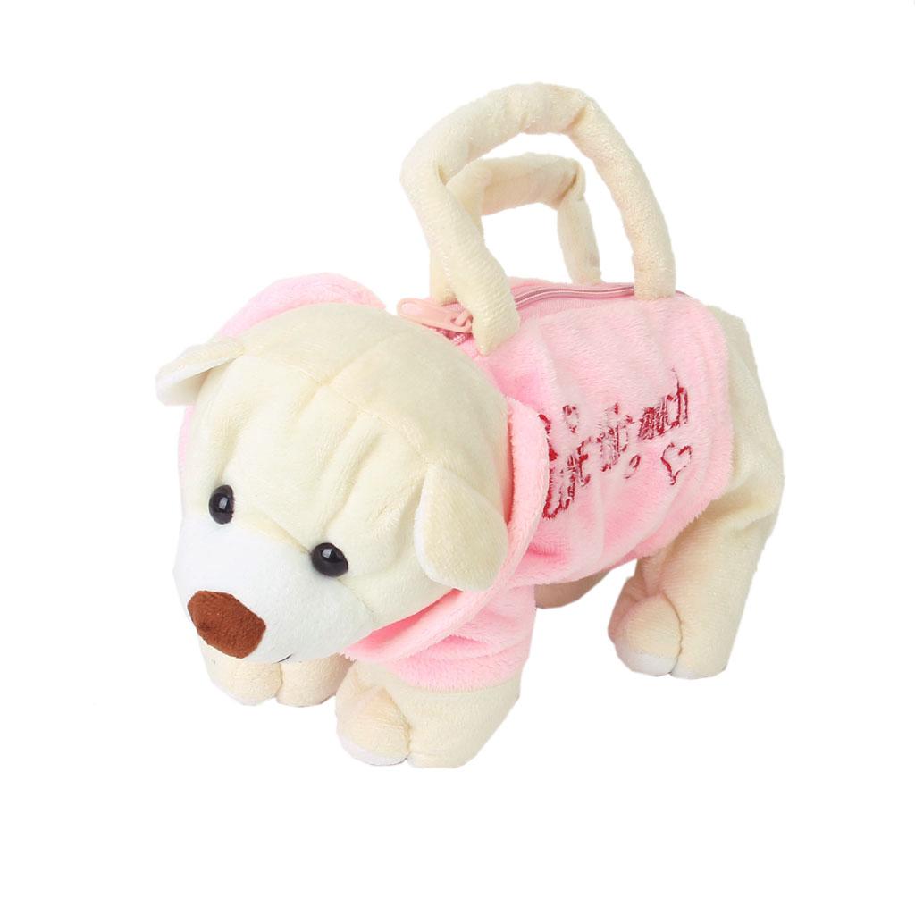 Cute Bear Shape Purse Bag Handbag Zipper Child Plush Soft Toy-Pink & Beige