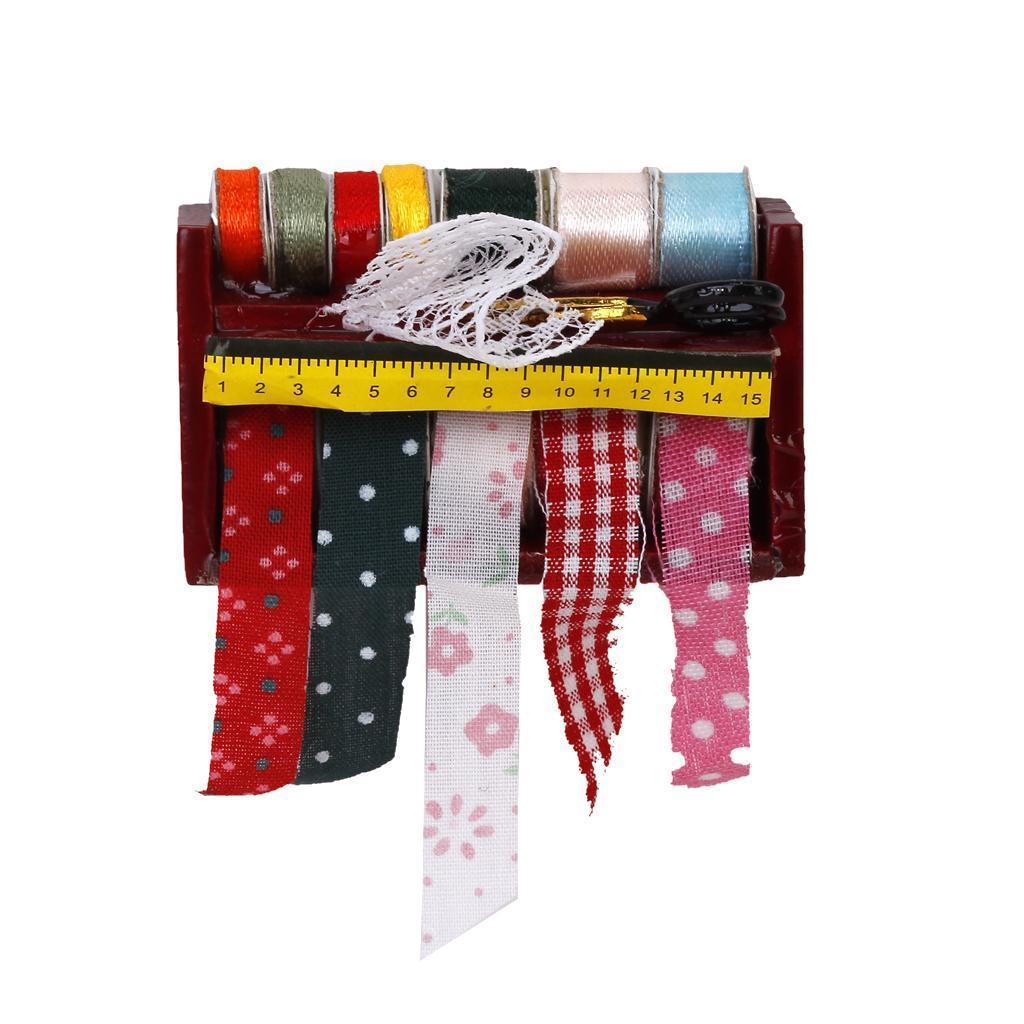 Dollhouse Miniature Sewing Ribbon Scissors Wooden Rack Shelf 1/12th Scale