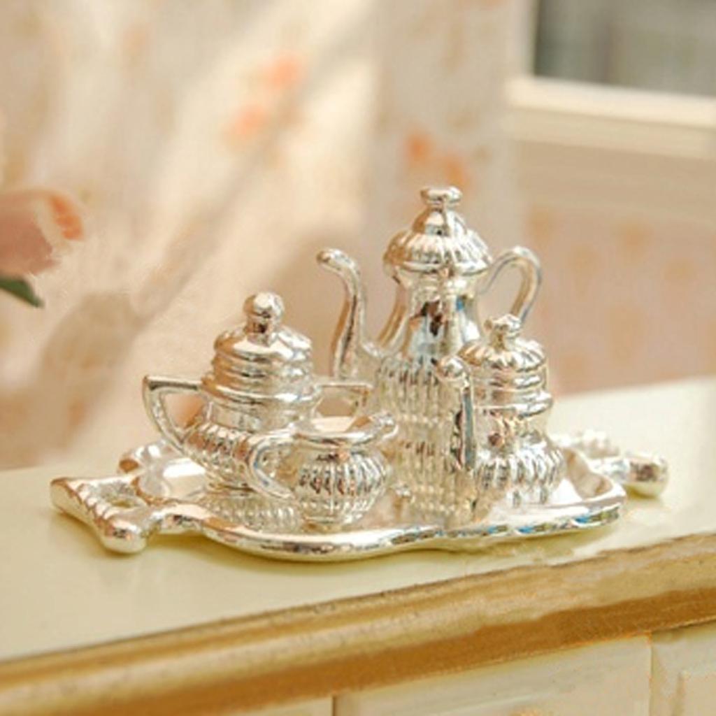 1/12 Dollhouse Miniature Silver Metal Wine Set-5 PCS