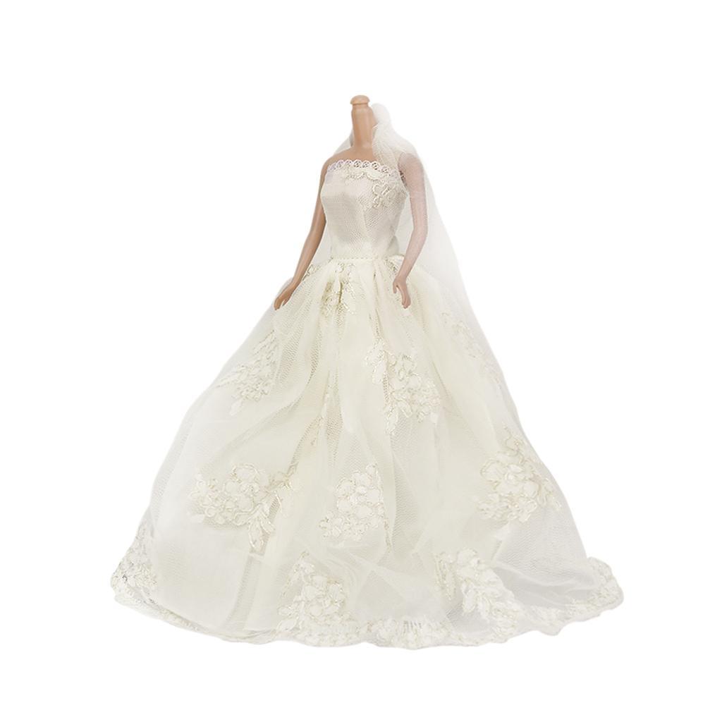 Bridal wedding gown princess dress veil for barbie dolls for Barbie wedding dresses for sale