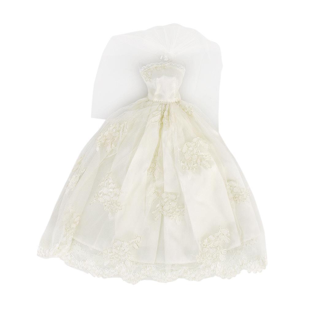 Bridal Wedding Gown Princess Dress Veil For Barbie Dolls - Beige