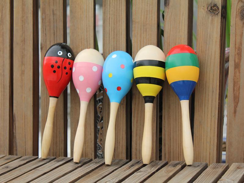 Size L Wooden Egg Rattles Toys Children Gift
