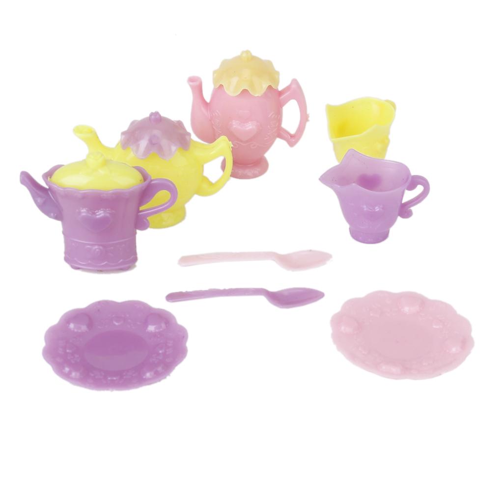 Plastic Tableware Tea Pot Dishes Set for Barbie
