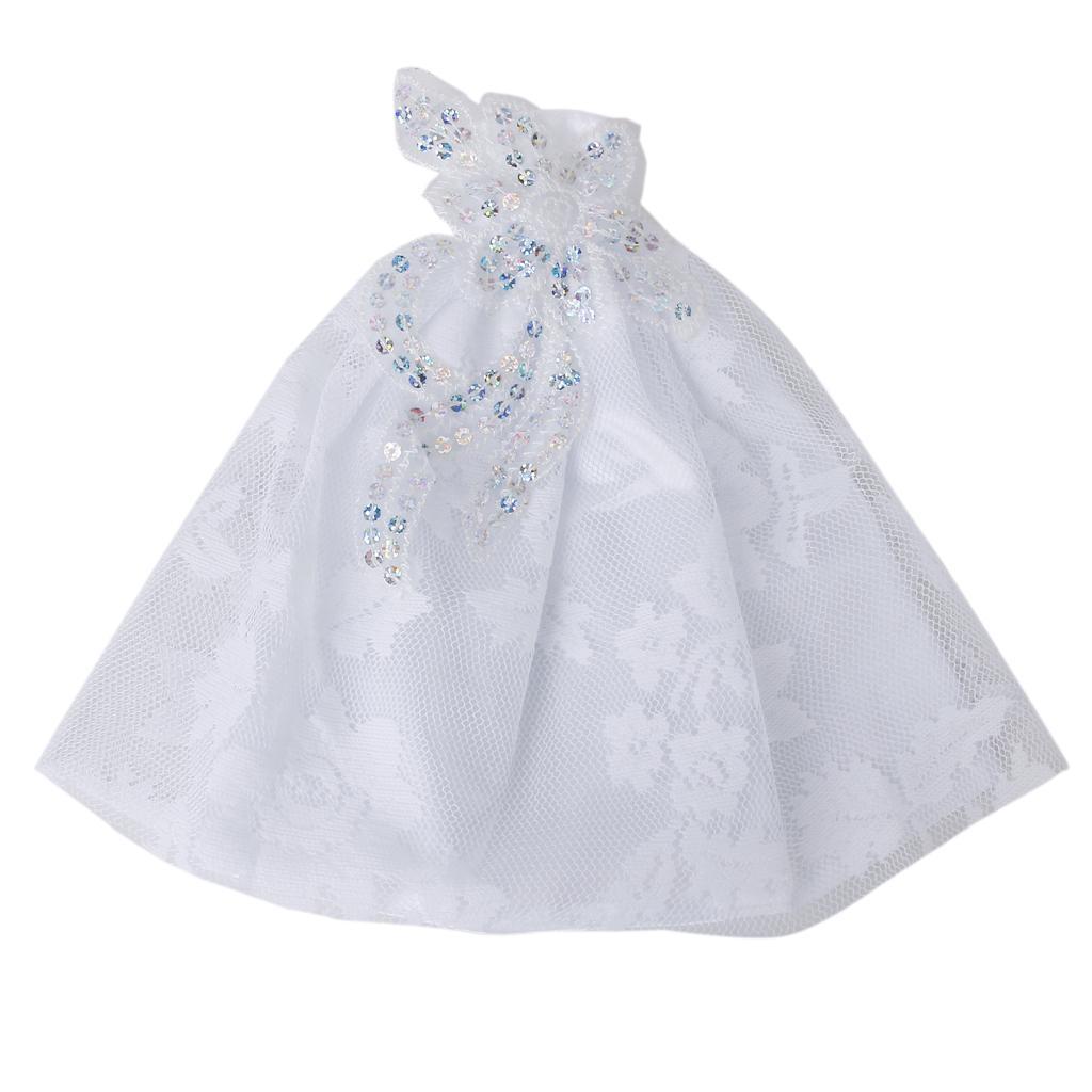 Barbie Doll Wedding Gown Full Dress Strapless White