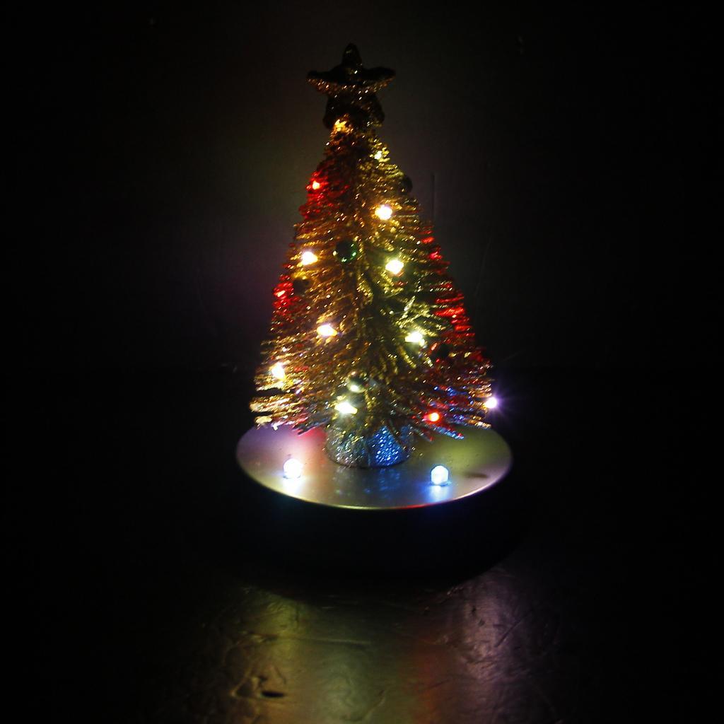 Mini Artificial Christmas Tree Decor With Multi Color Led