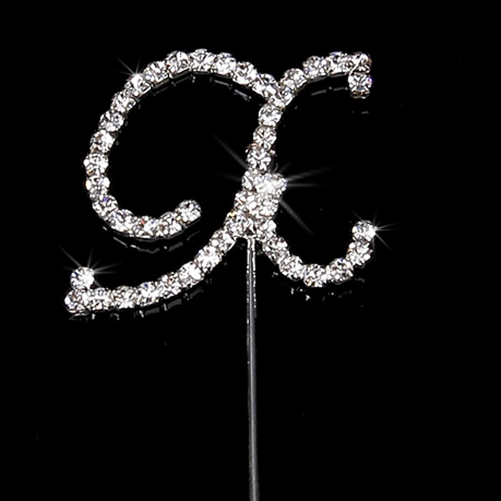 Clear Diamante Rhinestone Silver Letter X for Cake Topper Wedding/ Anniversaries