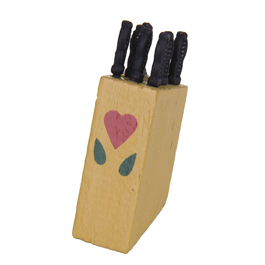 1:12 Dollhouse Miniature Set (7pcs) Knifes in wooden Barrel Sheath