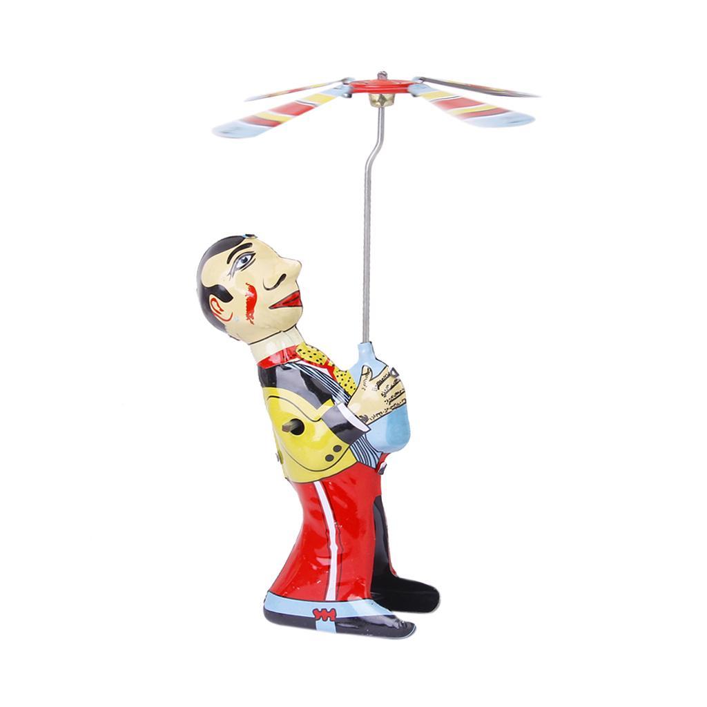 Vintage Wind-up Toy Acrobatics Juggler Turn Umbrella