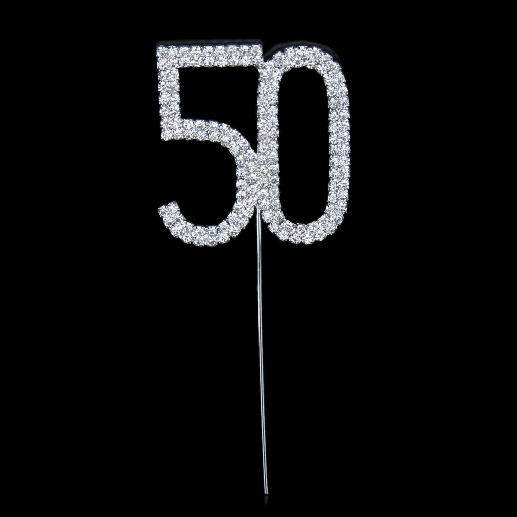 Crystal Rhinestone 50th Anniversary Birthday Party Cake Topper
