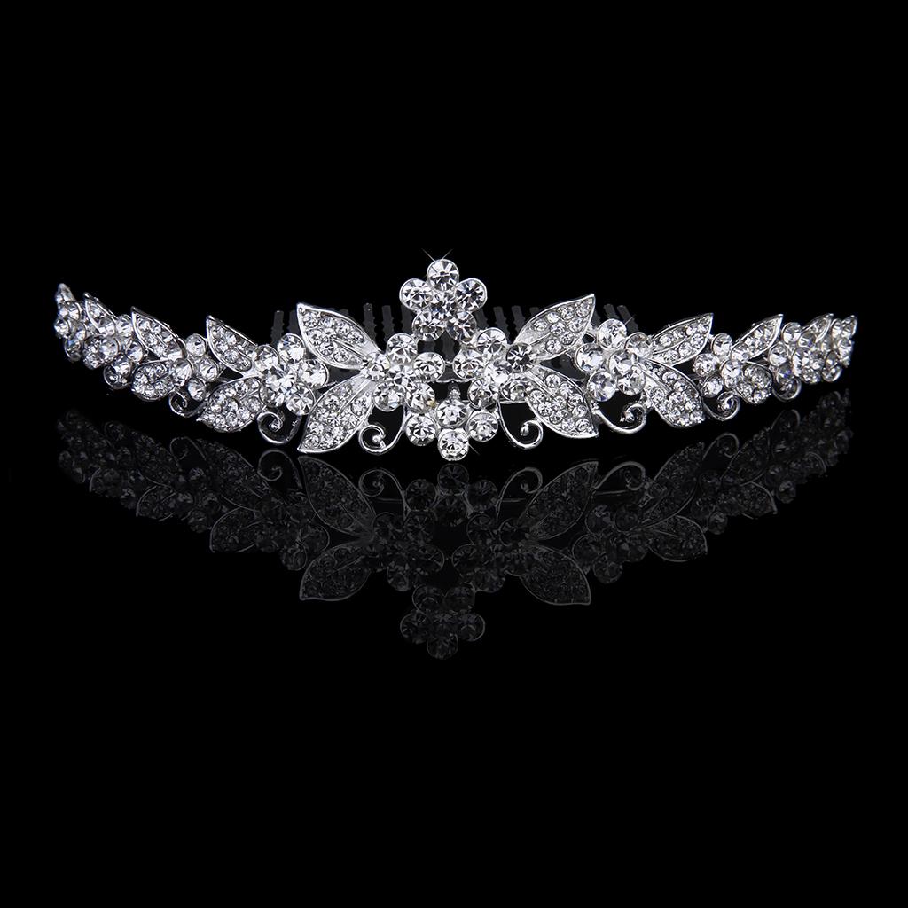 Bride Bridesmaids Crystal Tiara Rhinestone Crown w/ Comb Pin for Wedding Party