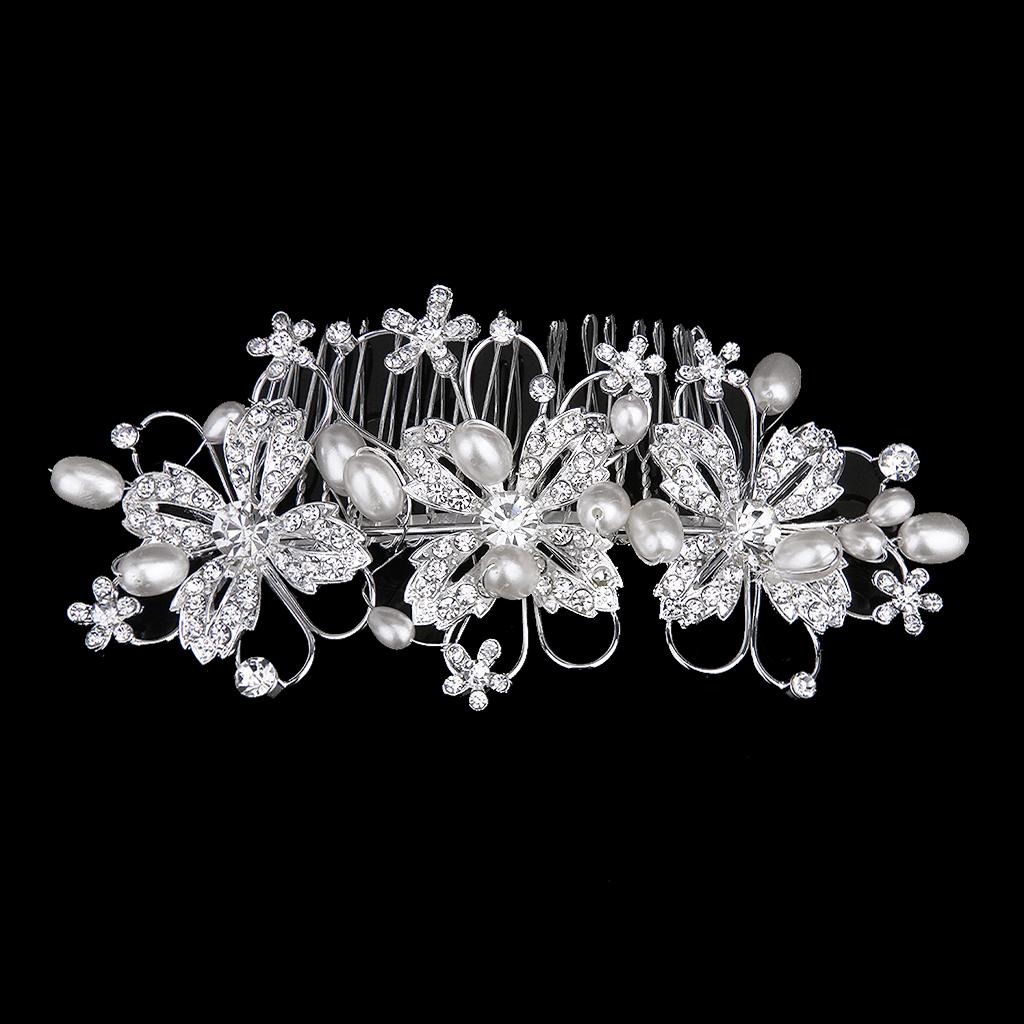 Bridal Wedding Party Pearl Flower Crystal Rhinestone Crown Tiara Hair Comb