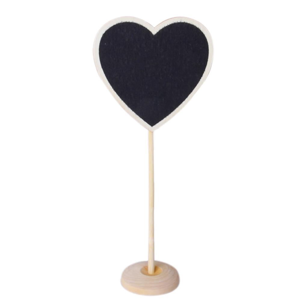 1 Piece Wooden Heart-shaped Blackboard with Base