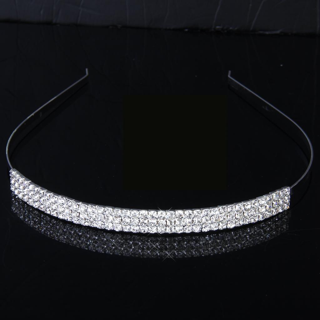 Bridal Bridesmaid Flower Girl 3-Row Crystal Diamante Headband Wedding Tiara