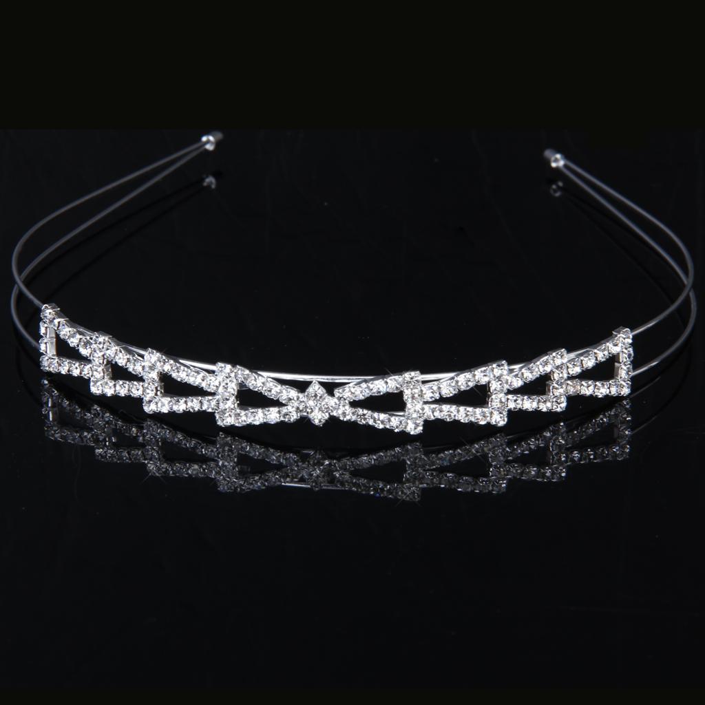 Bridal Bridesmaid Flower Girl Crystal Diamante Triangle Headband Wedding Tiara