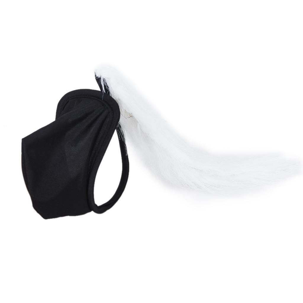 Black Men Sexy C-string w/ White Tail Charming Underwear Pouch Panty