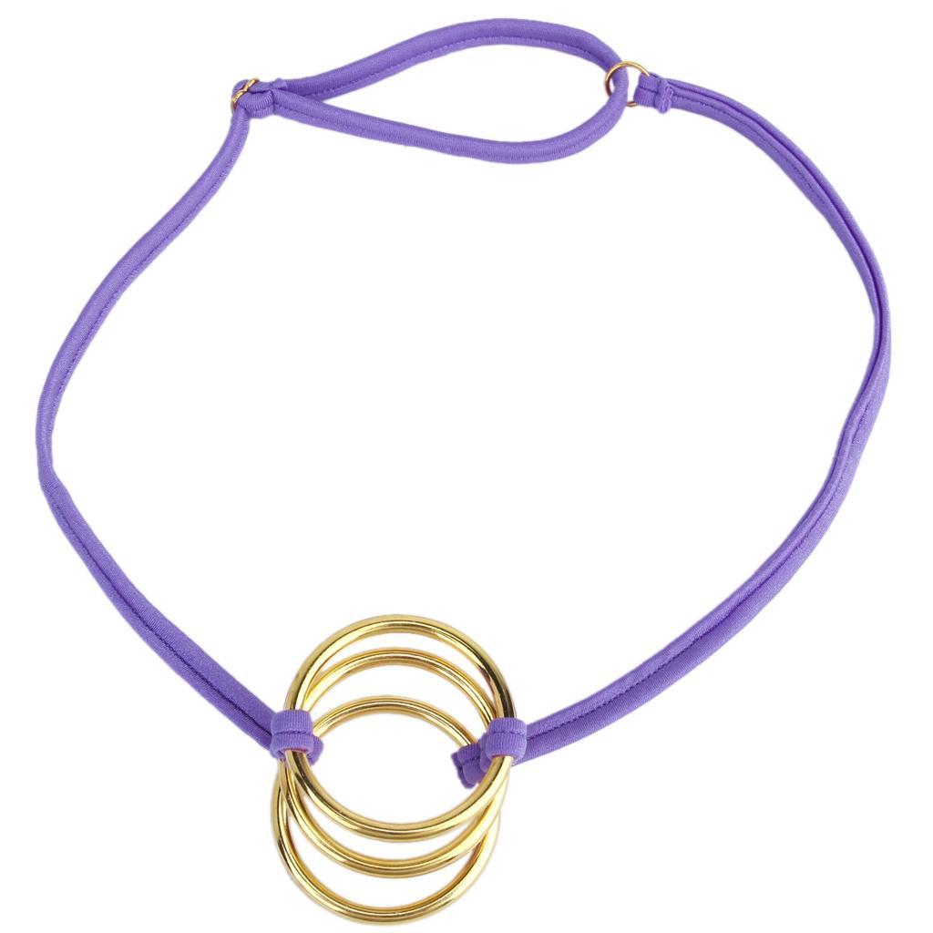 Men Sexy Brief C-String G-String Seamless Underwear Thong Panty w/ Three Golden Rings Purple