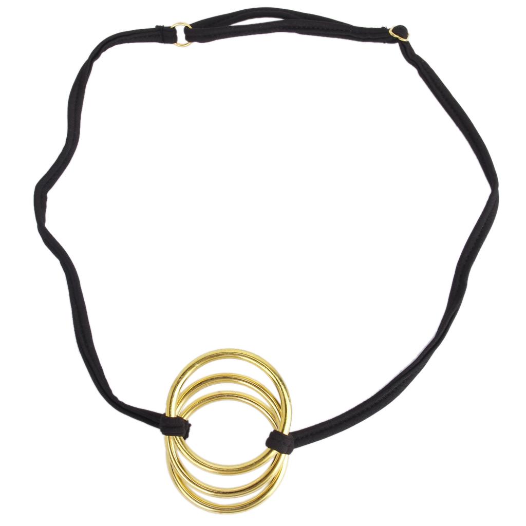 Men Sexy Brief C-String G-String Seamless Underwear Thong Panty w/ Three Golden Rings Black