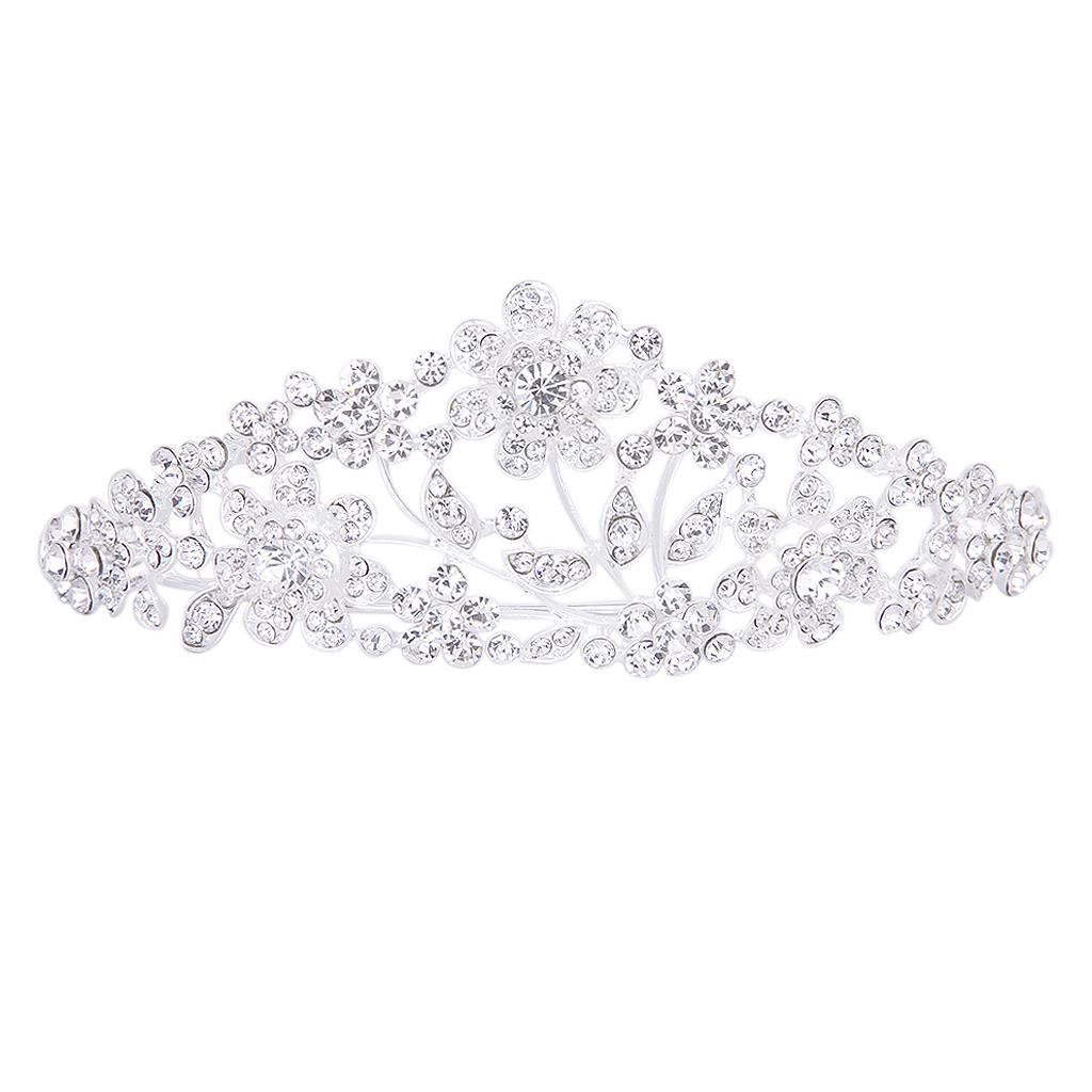 "Wedding Party Bridal Bridesmaid Flower Crystal Rhinestone Crown Tiara 5.43"""